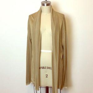 Sweaters - NWT Ralph Lauren silk open front tan cardigan L
